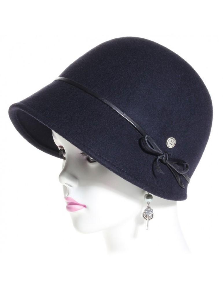 chapeau feutre cloche style 1900 bleu marine