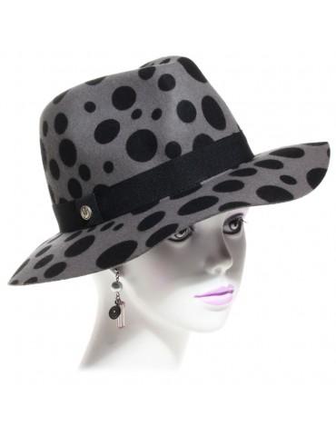 chapeau feutre femme gris imitation léopard