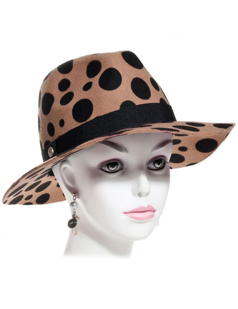 chapeau feutre femme imitation léopard beige