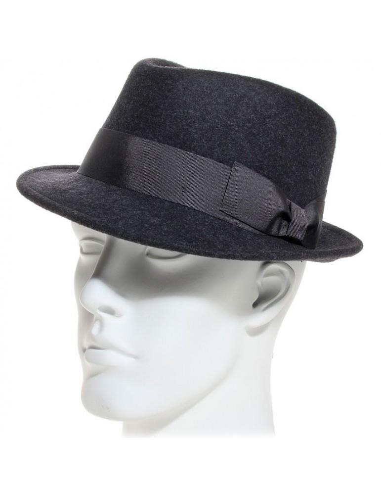 chapeau feutre style borsalino gris anthracite