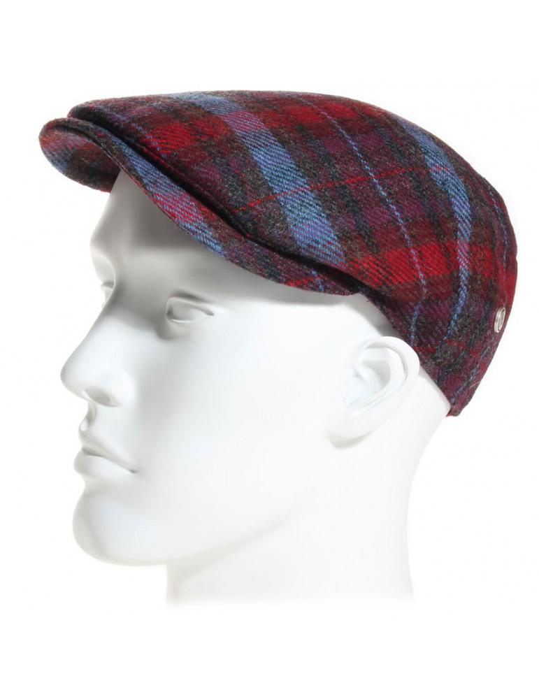casquette plate en laine Mérinos bleu et rouge
