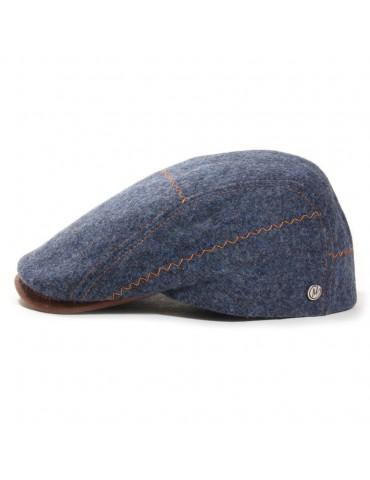 Casquette bleue en laine vierge surpiquée pins M by Fléchet