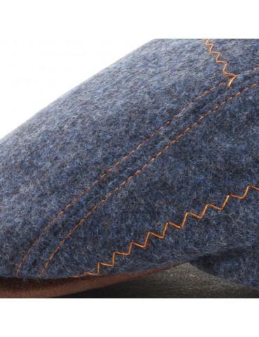 Casquette bleue en laine vierge surpiquée
