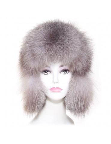 chapka femme en cuir et fourrure de renard argenté