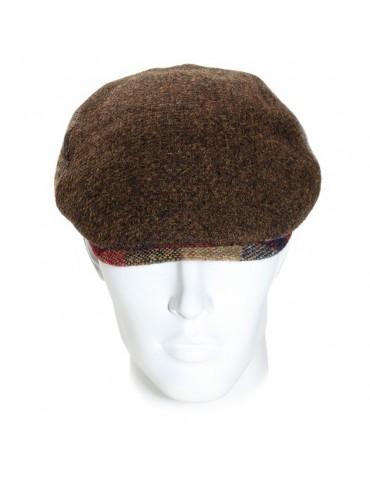 casquette plate en laine vierge coloris marron