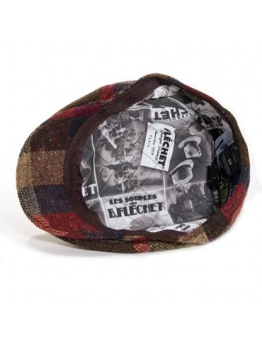 casquette plate en laine vierge coloris marron doublure Fléchet
