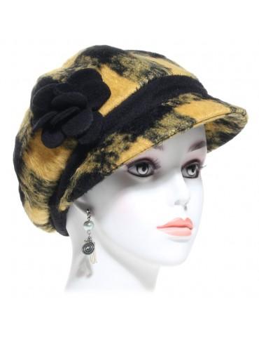 casquette gavroche femme laine carreaux noir et moutarde