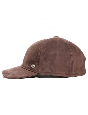 Casquette baseball cuir de veau nappa wax marron marque Modissima