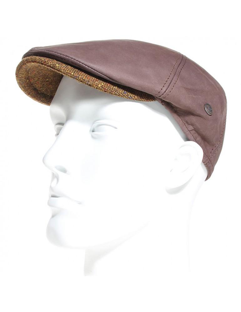 casquette cuir marron et visière laine