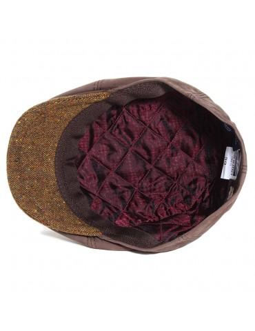casquette cuir marron et visière laine doublée polyester