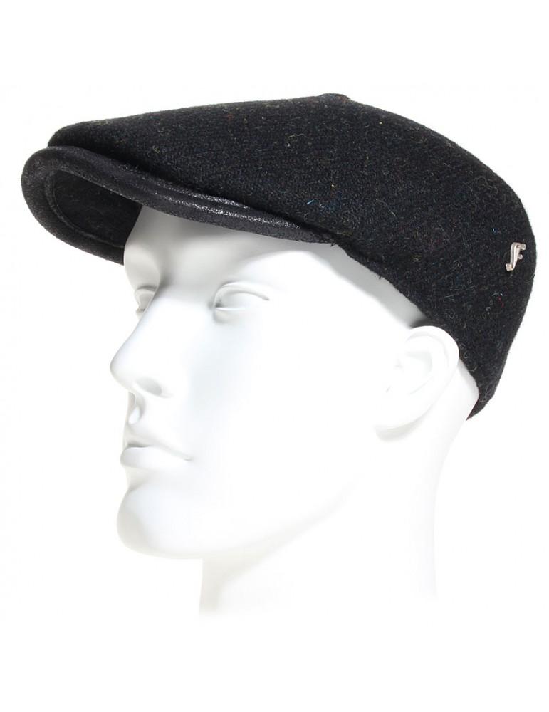 Casquette plate laine Harris Tweed noir