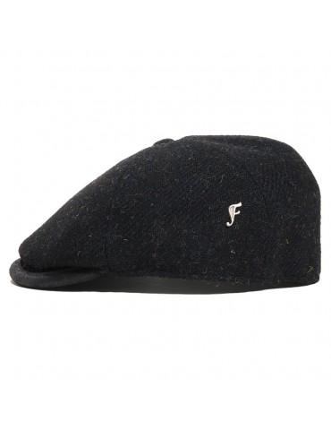 Casquette laine Harris Tweed noir