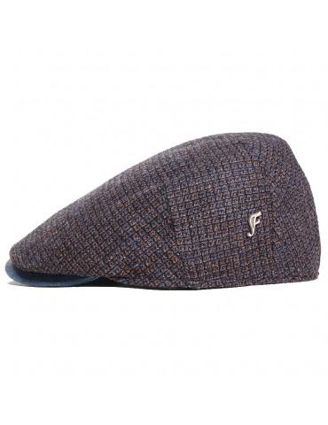 Casquette plate laine et cuir bleu pins Fléchet