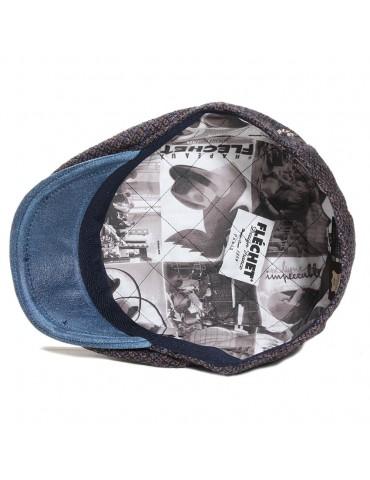 Casquette plate laine et cuir bleu doublure Fléchet