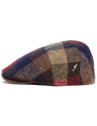 casquette plate en laine et visière cuir ton marron pins Fléchet