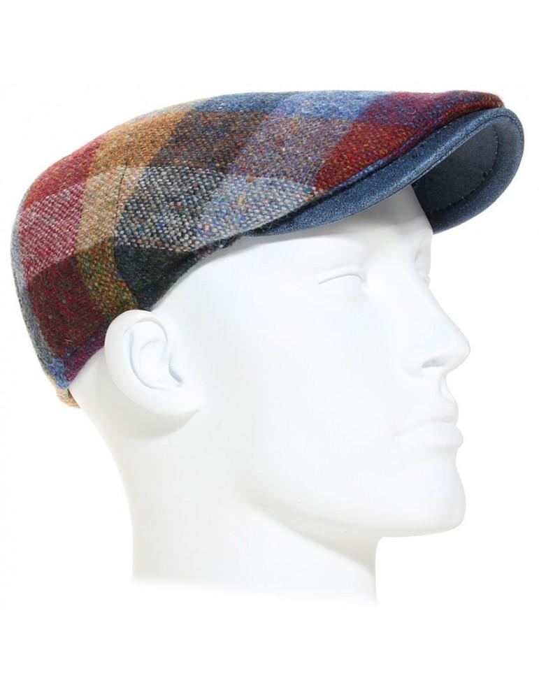casquette plate laine vierge et cuir couleur bleu