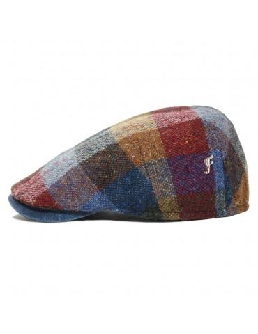 casquette plate laine vierge et cuir couleur bleu avec pins Fléchet