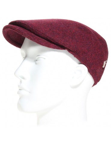 Casquette plate laine Harris Tweed bordeaux