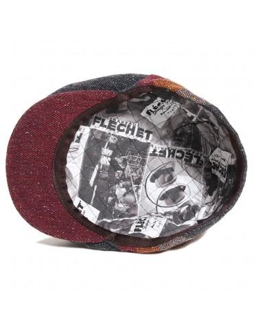 Casquette plate patchwork 100% laine vierge doublure Fléchet