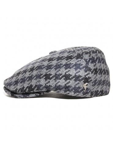 Casquette laine pied de coq grise avec pins Fléchet