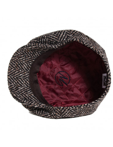 casquette gavroche tweed marron doublée polyester