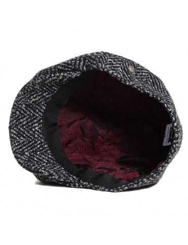 casquette gavroche tweed noir doublée polyester