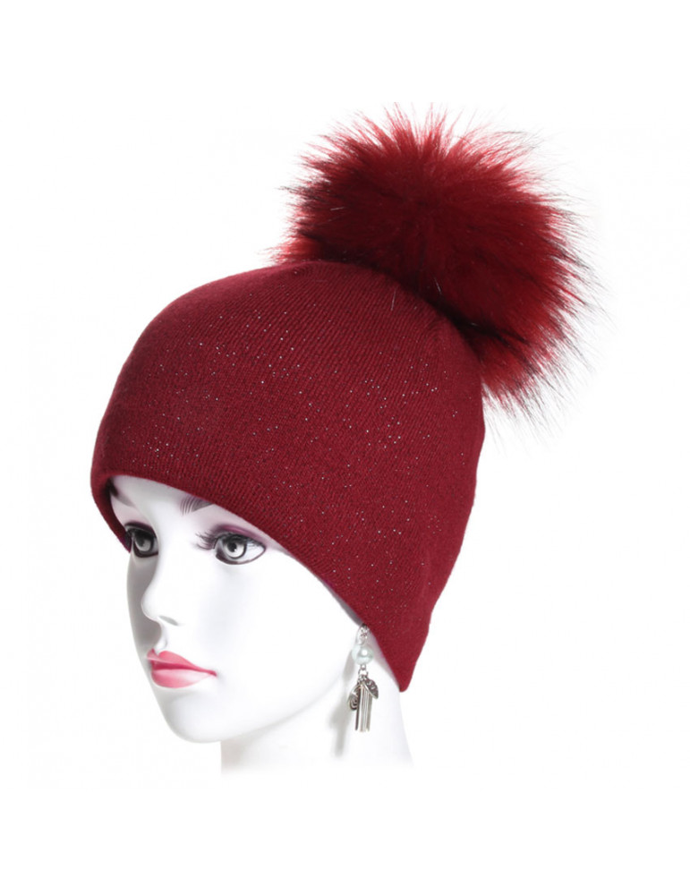 bonnet pompon maille fine coloris bordeaux pailleté