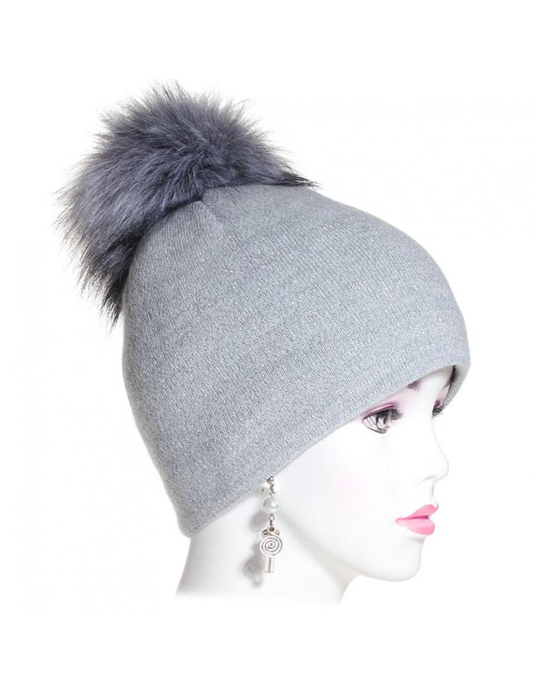 bonnet pompon maille fine coloris gris pailleté