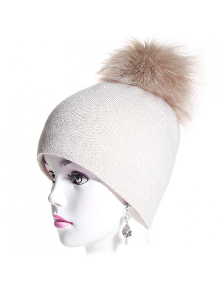 bonnet pompon maille fine coloris beige
