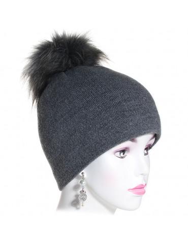 bonnet pompon maille fine coloris gris anthracite