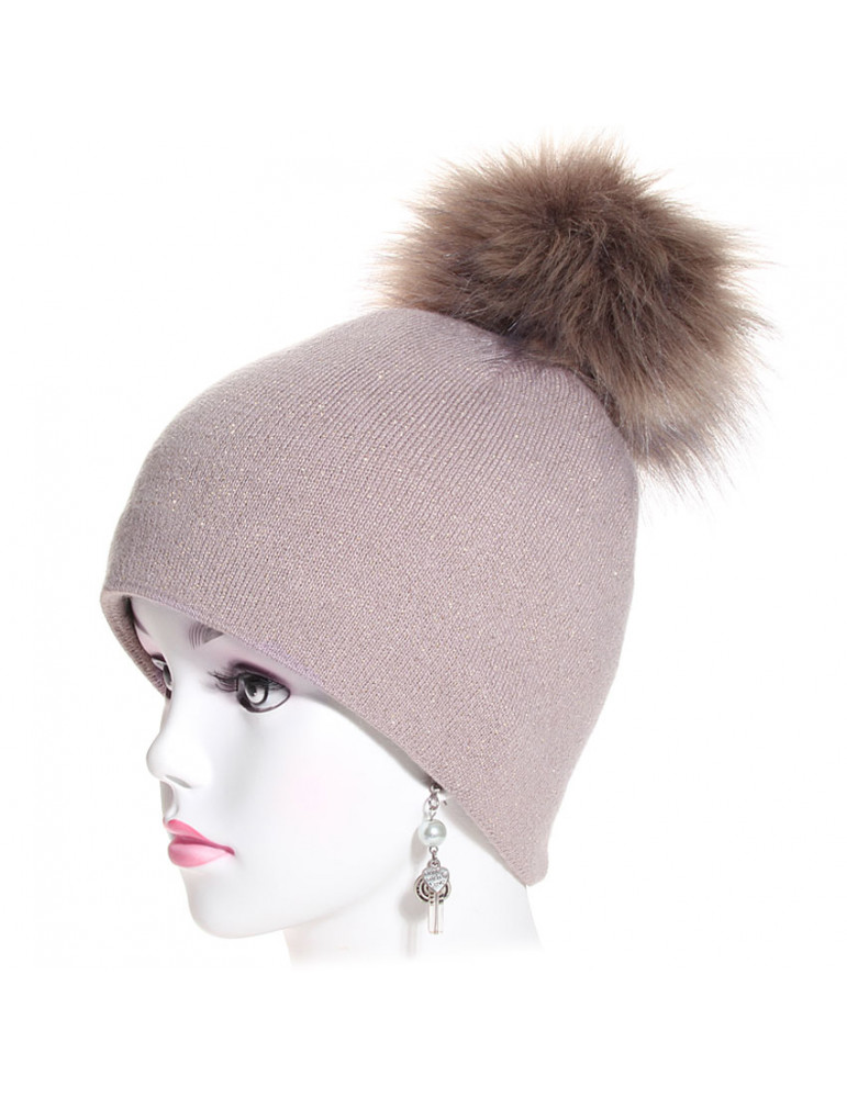 bonnet pompon maille fine pailletée coloris taupe