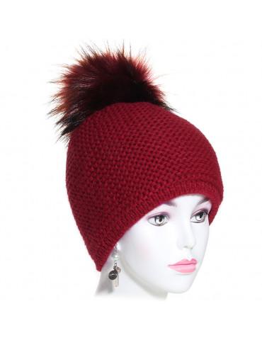 bonnet pompon maille laine bordeaux