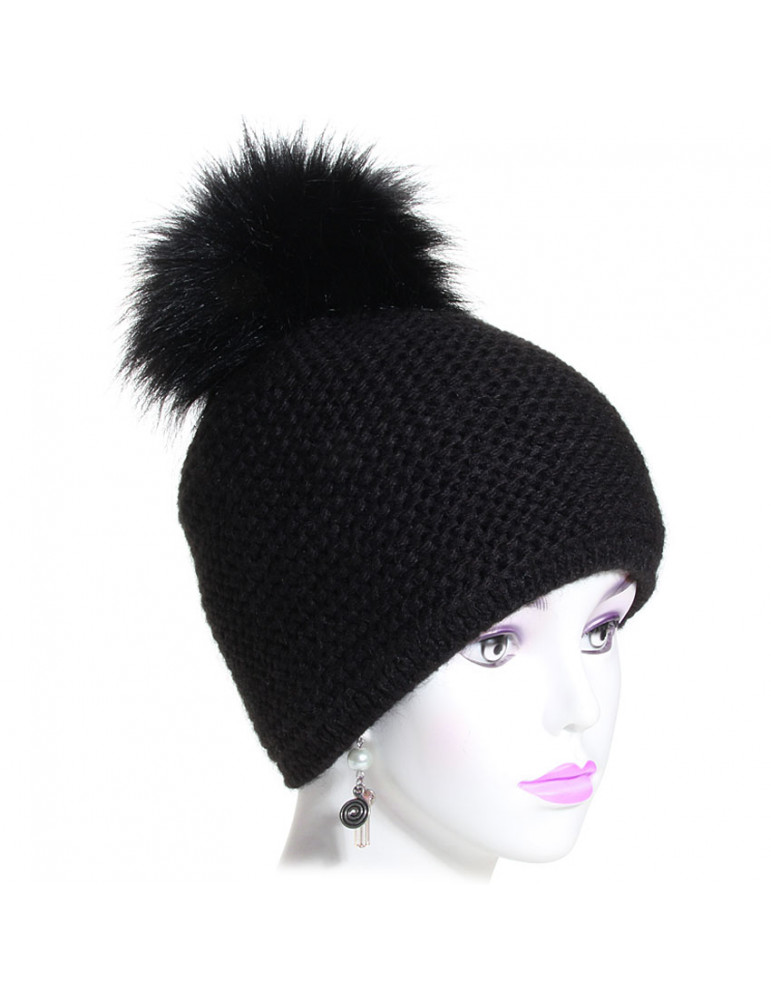 bonnet pompon point mousse coloris noir