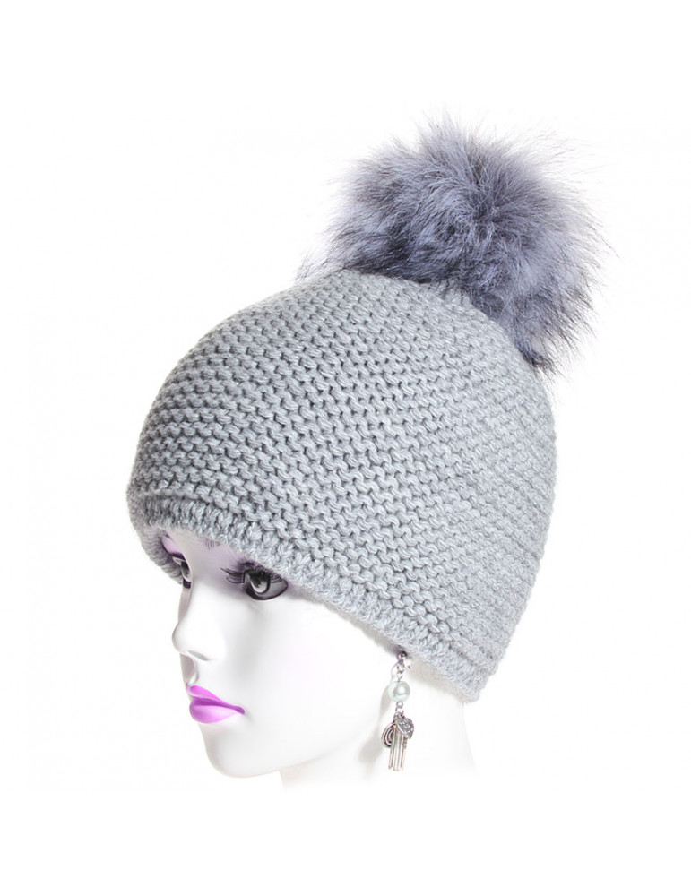 bonnet laine point mousse gris