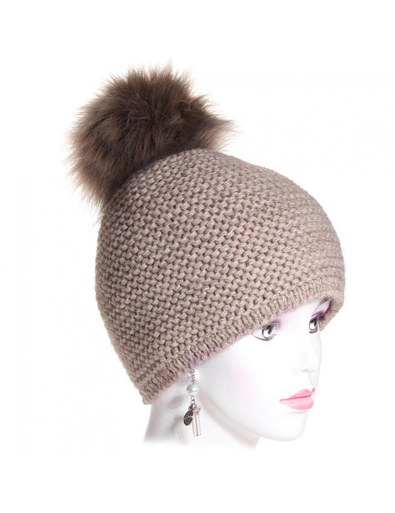 bonnet laine point mousse coloris taupe