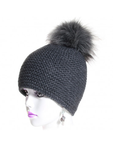 bonnet laine point mousse anthracite