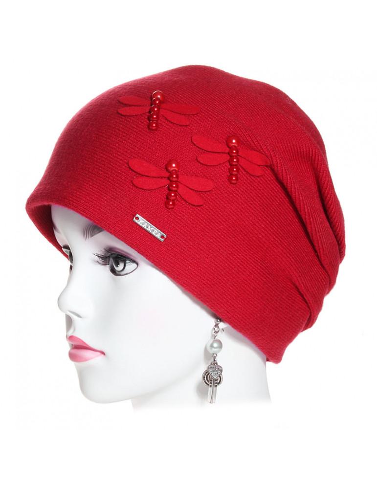 bonnet pincé trois plis rouge