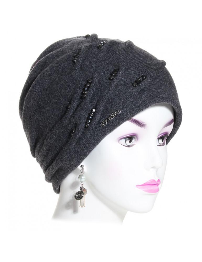 bonnet laine pincé gris anthracite