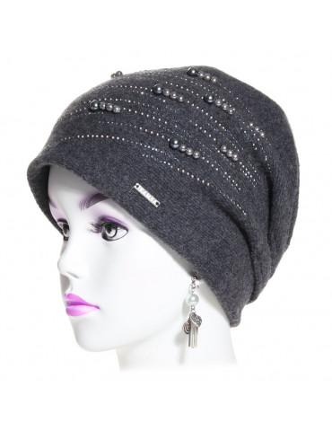 bonnet laine et perles gris anthracite