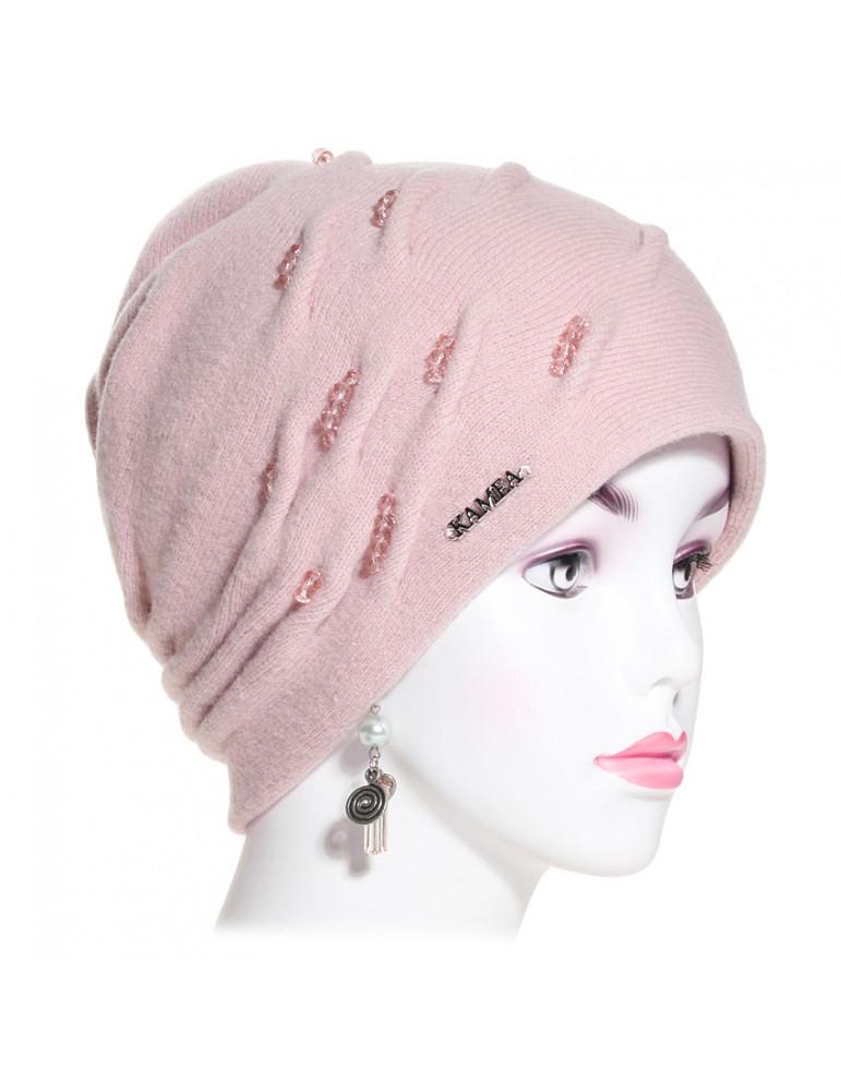 bonnet laine et perles rose