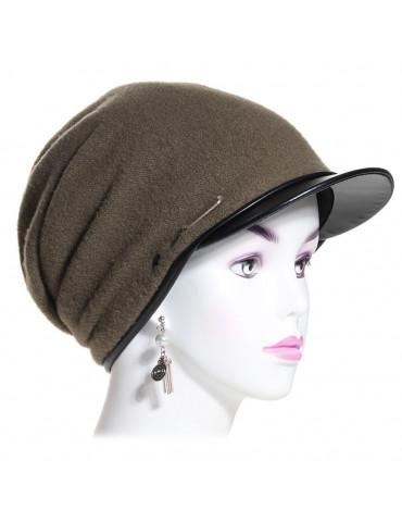 bonnet casquette laine kaki