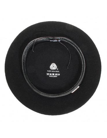 béret noir 100% laine