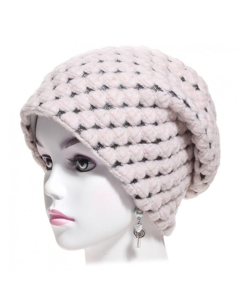 bonnet laine nid d'abeille rose