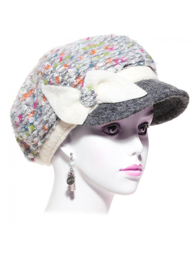 casquette gavroche laine bouclée multicolore