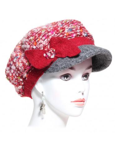 casquette gavroche laine bouclée rouge