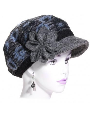 casquette gavroche laine bleu et grise