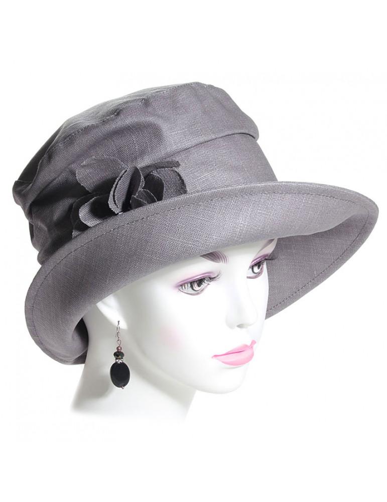 chapeau pluie lin gris