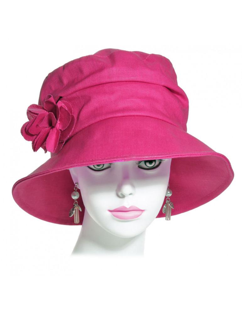 chapeau de pluie en lin framboise