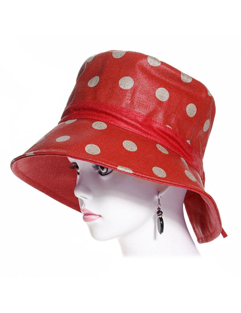 chapeau de pluie en lin rouge et pois