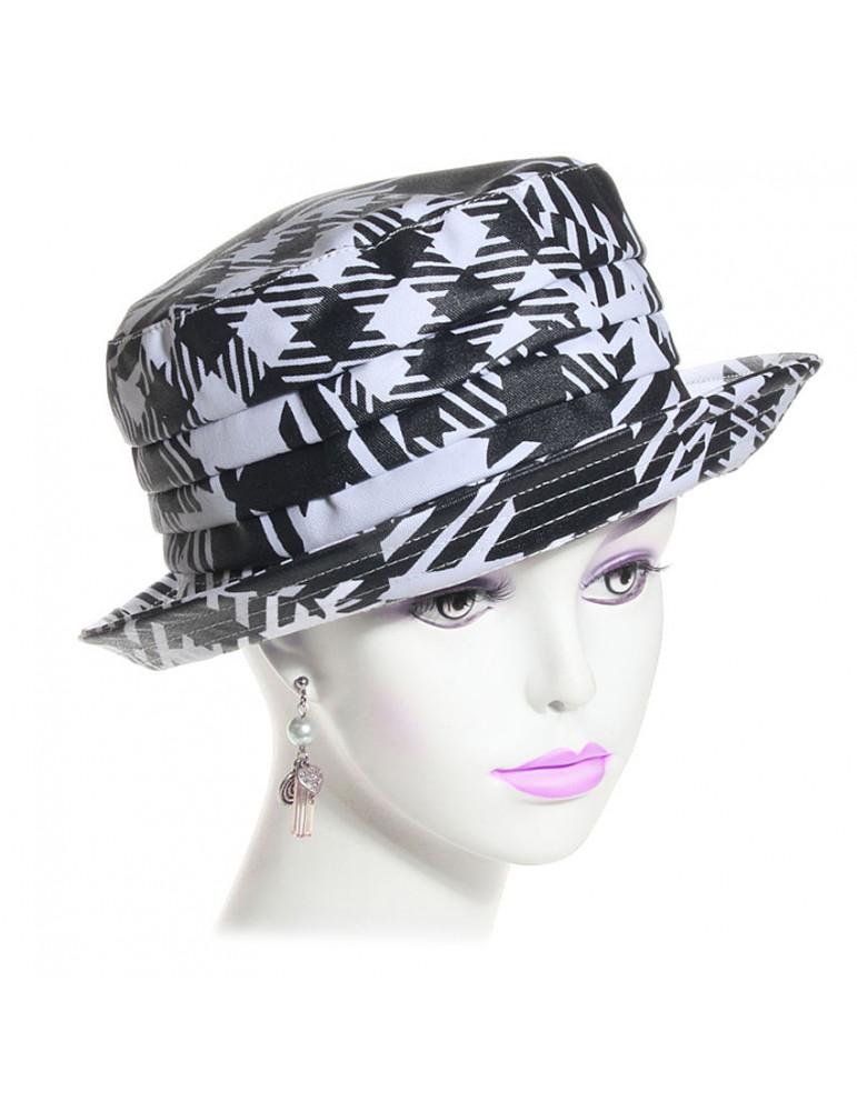 chapeau de pluie en coton noir et blanc